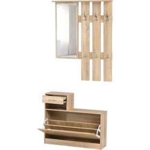 HOMCOM 3-in-1 Garderobenset mit Schuhschrank, Garderobe und Spiegel natur | Flurgarderobe Flurmöbel Dielenmöbel Schuhbank - Bild 1