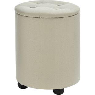 HOMCOM Sitzhocker mit Stauraum cremeweiß 30 x 40 cm (ØxH)   Aufbewahrungshocker Fußhocker Polsterhocker Hocker - Bild 1