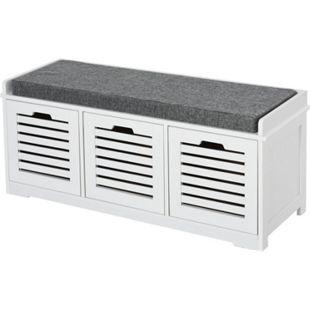 HOMCOM Schuhbank mit Polsterung grau, weiß 108 x 35 x 43 cm (BxTxH) | Schuhregal Sitztruhe mit Schubladen Schuhschrank - Bild 1