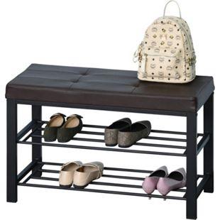 HOMCOM Schuhbank mit 2 Ablagen braun, schwarz 80 x 31 x 49 cm (BxTxH) | Sitzbank mit Schuhablage Aufbewahrungsregal Schuhregal - Bild 1