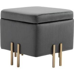 HOMCOM Sitzhocker mit Stauraum grau 45 x 45 x 42 cm (BxTxH) | Aufbewahrungshocker Fußhocker Polsterhocker Hocker - Bild 1