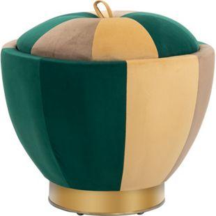 HOMCOM Polsterhocker mit Stauraum grün, braun, orange 52 x 43 cm (ØxH) | Aufbewahrungshocker Fußhocker Sitzhocker Hocker - Bild 1