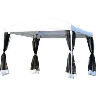 Outsunny Faltzelt mit Seitenwänden weiß 3 x 3 x 2,55 m (LxBxH) | Pavillon Faltpavillon Partyzelt Gartenpavillon - Bild 1
