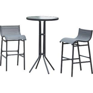 Outsunny Bartisch mit 2 Stühlen grau, schwarz | Bargruppe Barset Sitzgruppe Theke mit Barhocker - Bild 1