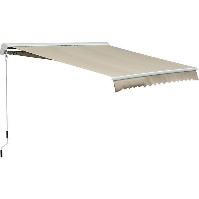 Outsunny Gelenkarmmarkise mit Handkurbel 3,95 x 3 m (BxL | Alu-Markise Sonnenschutz Terrassenüberdachung - Bild 1