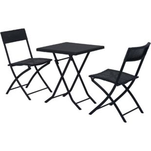 Outsunny Gartenmöbel als 3-teiliges Set schwarz | Polyrattan Gartenset Loungemöbel Balkonset - Bild 1