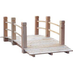 Outsunny Gartenbrücke mit Geländer natur 152,5 x 67 x 48 cm (LxBxH)   Holzbrücke Holzsteg Teichbrücke Zierbrücke - Bild 1