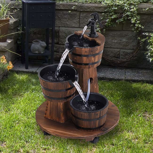 Outsunny Holzfassbrunnen mit Pumpe braun 60 x 78 cm (ØxH) | Zierbrunnen Kaskadenbrunnen Gartenbrunnen Wasserspiel - Bild 1