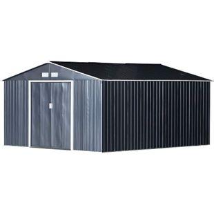 Outsunny Geräteschuppen grau 340 x 382 x 200 cm (BxTxH) | Gerätehaus mit Doppelschiebetür Metallschuppen - Bild 1