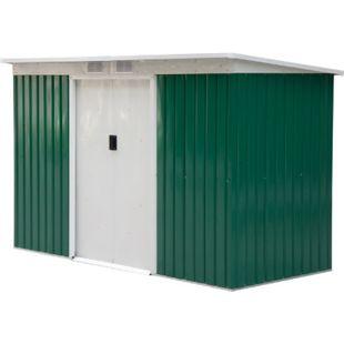 Outsunny Geräteschuppen mit Schiebetür 277 x 130 x 173 cm (LxBxH) | Gerätehaus Gartenhaus Metallhütte mit Pultdach - Bild 1