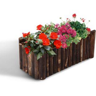 Outsunny Blumenkasten natur 78 x 35 x 30 cm (LxBxH) | Pflanzbeet Kräuterbeet Pflanzkasten Hochbeet - Bild 1