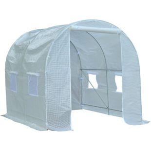 Outsunny Foliengewächshaus mit 8 Seitenfenstern weiß 600 x 300 x 200 cm (LxBxH) | Pflanzenhaus Gewächshaus Treibhaus Folienhaus - Bild 1