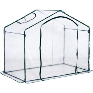 Outsunny Gewächshaus mit Fenster transparent, dunkelgrün 180 x 105 x 150 cm (LxBxH) | Foliengewächshaus Treibhaus Pflanzenzucht Zelt - Bild 1