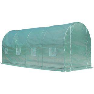 Outsunny Foliengewächshaus mit 8 Seitenfenstern grün, weiß 500 x 200 x 210 cm (LxBxH) | Treibhaus Tomatenhaus Gewächshaus Folientunnel - Bild 1