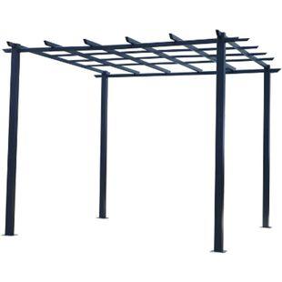 Outsunny Rosenpavillon schwarz 300 x 300 x 230 cm (LxBxH)   Pflanzbogen Rosenbogen Rankhilfe Pflanzgitter - Bild 1