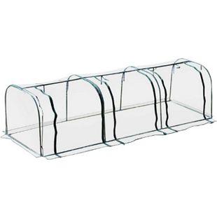 Outsunny Folientunnel mit 3 Türen transparent, dunkelgrün 400 x 100 x 80 cm (LxBxH) | Treibhaus Tomatenhaus Frühbeet Foliengewächshaus - Bild 1
