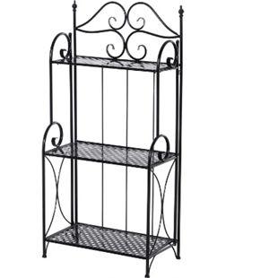 Outsunny Gartenregal mit 3 Ablagen schwarz 56 x 30 x 114 cm (LxBxH) | Standregal Metallregal Aufbewahrungsregal Pflanzregal - Bild 1