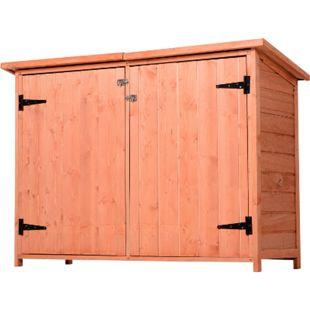 Outsunny Gerätehaus mit Ablage natur 128 x 50 x 82/90 cm (LxBxH) | Gartenschrank Holzschuppen Gartenaufbewahrung - Bild 1