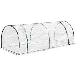Outsunny Folientunnel transparent, grün 250 x 100 x 80 (LxBxH) | Treibhaus Tomatenhaus Frühbeet Foliengewächshaus - Bild 1