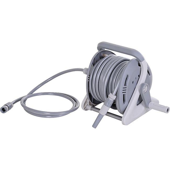 Outsunny Schlauchtrommel mit manueller Kurbel grau 28 x 27 x 31 cm (BxTxH) | Schlauchaufroller Wasserschlauchtrommel Wasserschlauch - Bild 1
