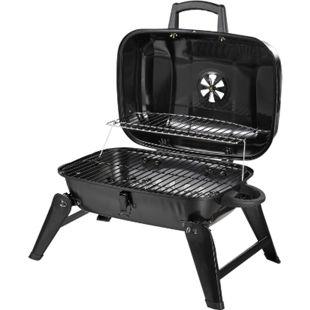 Outsunny Klappgrill tragbar schwarz 59 x 43 x 36 cm (LxBxH)   Kohlegrill BBQ Standgrill Holzkohlegrill Gartengrill - Bild 1