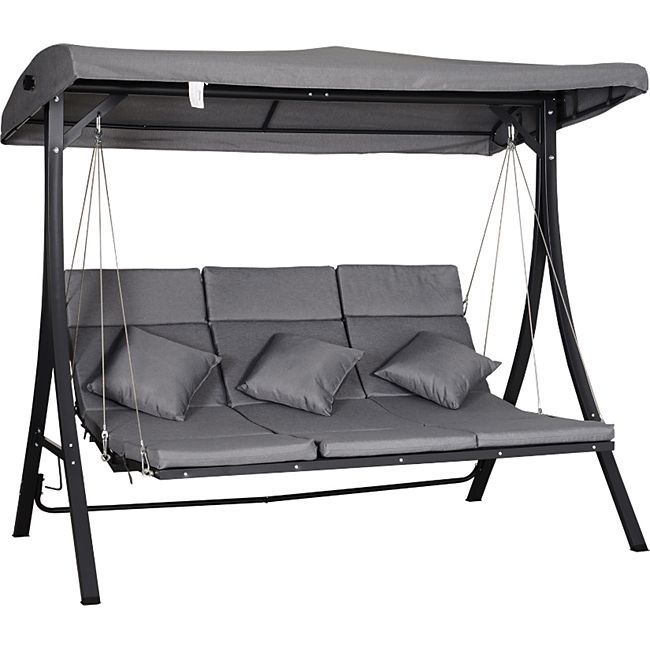 Outsunny Hollywoodschaukel als 3-Sitzer grau/schwarz 200 x 115 x 168 cm (BxTxH) | Schaukelbank Liege mit Sonnendach Gartenschaukel - Bild 1