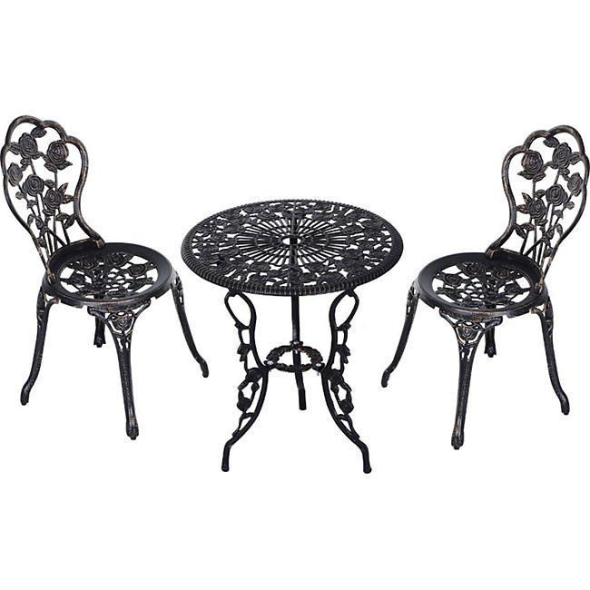 Outsunny Gartenmöbel als 3-teiliges Set schwarz | Gartenset Sitzgruppe Balkonset Balkongarnitur - Bild 1