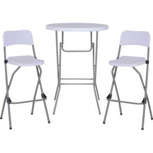 Outsunny Bargruppe als 3-teiliges Set weiß | Barset Bistroset Sitzgruppe Bartisch mit Barhockern - Bild 1