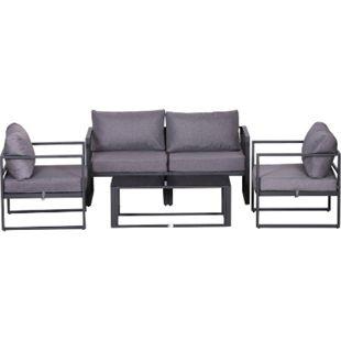 Outsunny Gartengarnitur für 4 Personen grau | Gartenset Gartensofaset Sitzgruppe Gartenmöbel-Set - Bild 1