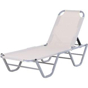 Outsunny Sonnenliege mit verstellbarer Rückenlehne cremeweiß, silber 163 x 58,5 x 89 cm (LxBxH) | Strandliege Gartenliege Relaxliege Gartenmöbel - Bild 1