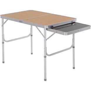 Outsunny Campingtisch mit seitlicher Tischplatte hellbraun, schwarz 90 x 60 x 40/70 cm (LxBxH) | Picknicktisch Klapptisch Gartentisch Universaltisch - Bild 1