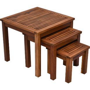 Outsunny Beistelltisch im 3er Set Teakholz | Kaffeetisch Couchtisch Gartentisch Holztisch - Bild 1