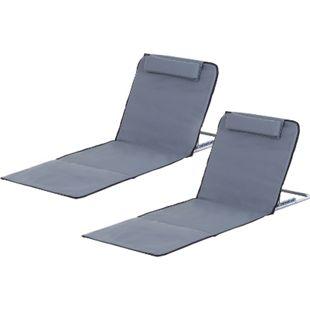 Outsunny Strandmatte mit verstellbarer Rückenlehne grau 134 x 48 x 36-45 cm (LxBxH) | Sonnenmatte Sonnenliege Leseliege Strandliege - Bild 1