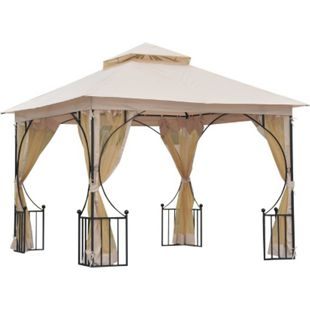 Outsunny Gartenpavillon mit Doppeldach beige, schwarz 300 x 300 x 275 cm (LxBxH) | Luxus Pavillon Partyzelt Festzelt Gartenzelt Zelt - Bild 1