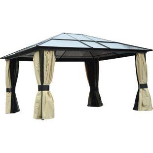 Outsunny Luxus Pavillon mit lichtdurchlässigem Dach braun, schwarz, beige 420 x 360 x 265 cm (LxBxH) | Gartenpavillon Gartenzelt Partyzelt Pavillon - Bild 1