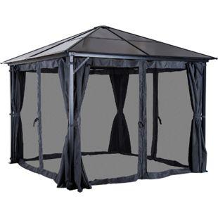 Outsunny Gartenpavillon mit Seitenteilen braun, dunkelgrau 300 x 300 x 265 cm (LxBxH) | Pavillon Partyzelt Luxuspavillon Gartenzelt - Bild 1