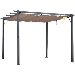 Outsunny Pergola mit Schiebedach kaffeebraun 300 x 300 x 223 cm (LxBXH) | Pavillon Terrassenüberdachung Vordach Sonnenschutz - Bild 1