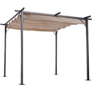 Outsunny Pergola mit Schiebedach per Seilzug schwarz, beige 300 x 300 x 230 cm (LxBxH) | Cabrio-Pavillon Gartenpavillon Terrassenüberdachung - Bild 1