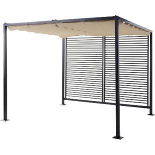 Outsunny Pergola mit verstellbarem Stoffdach schwarz, beige 295 x 275 x 238 cm (LxBxH) | Cabrio-Pavillon Gartenpavillon Terrassenüberdachung - Bild 1