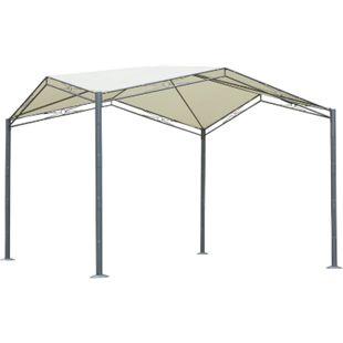 Outsunny Pavillon mit Sonnenschutz creme 330 x 330 x 265 cm (LxBxH) | Gartenpavillon Gartenzelt Partyzelt Pergola - Bild 1