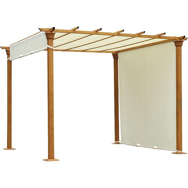 Outsunny Pergola mit einstellbaren Stoffdach beige 295 x 295 x 220 cm (LxBxH) | Terrassenüberdachung  Gartenzelt Gartenpavillon - Bild 1
