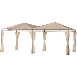 Outsunny Doppelpavillon mit Seitenwänden creme 595 x 300 x 265 cm (LxBxH) | Gartenpavillon Gartenzelt Partyzelt Festzelt - Bild 1