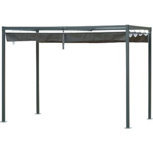 Outsunny Pergola mit Schiebedach schwarz, grau 298 x 213 x 222 cm (LxBxH) | Pavillon Terrassenüberdachung Vordach Gartenzelt - Bild 1