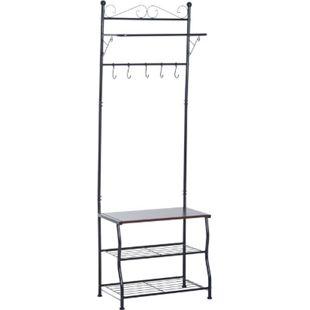 HOMCOM Kleiderständer mit 3 Schuhablagen 60 x 35 x 175 cm (LxBxH) | Garderobenständer Kleiderstange Aufhängestange - Bild 1