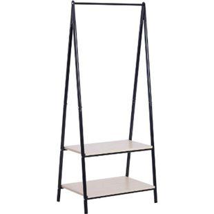 HOMCOM Gaderobenständer mit Schuhablage schwarz, natur 64 x 42,5 x 149 cm (LxBxH) | Kleiderständer Kleiderstange Garderobe Flurmöbel - Bild 1