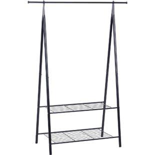 HOMCOM Gaderobenständer mit Schuhablage schwarz 100 x 46 x 148 cm (LxBxH) | Kleiderständer Kleiderstange Garderobe Flurmöbel - Bild 1
