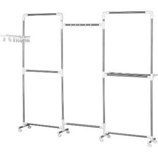 HOMCOM Kleiderständer inkl. Klammern silber, weiß 215 x 32 x 180 cm (LxBxH) | Garderobenständer Kleiderstange Garderobe mit Rollen - Bild 1