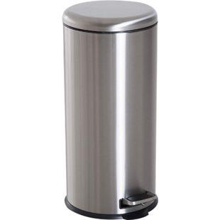 HOMCOM Pedal-Mülleimer mit Inneneimer silber, schwarz 29,2 x 62,9 cm (ØxH) | Treteimer Abfallsammler Kücheneimer Müll Abfall - Bild 1