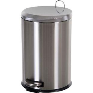 HOMCOM Kücheneimer mit Inneneimer silber, schwarz 29,2 x 44 cm (ØxH) | Abfalleimer Abfallsammler Treteimer Mülleimer - Bild 1