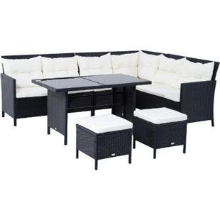 Outsunny Polyrattan Sitzgruppe als 18-teiliges Set schwarz, cremeweiß | Gartenset Sofagarnitur Gartenmöbel Loungeset - Bild 1